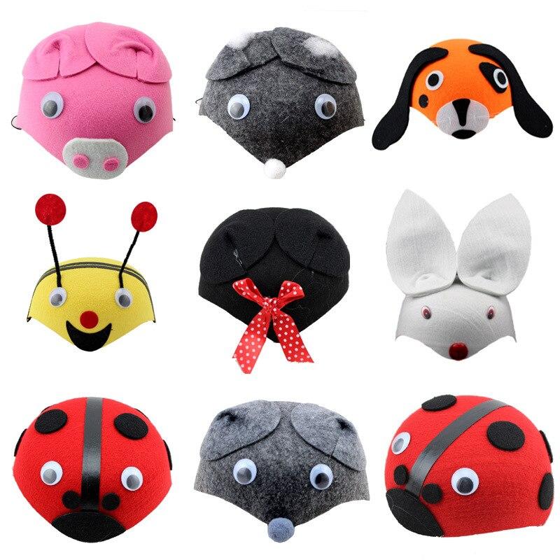 Varios animales sombreros de los niños de kindergarten niños teatro festival ves