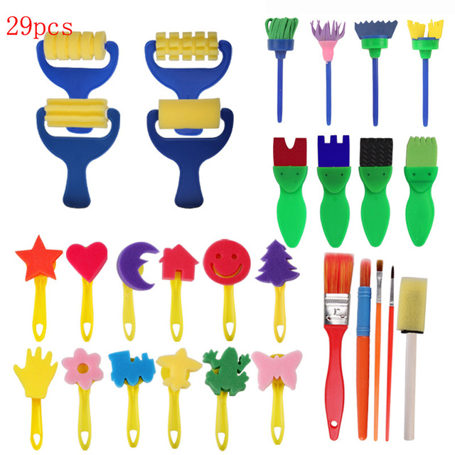 Children Brush Drawing Toy EVA Sponge Seal Brush Painting Set Toys Kid Education Learning For Child DIY Craft Painting Toys