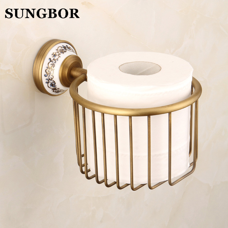 Wall Mounted crystal ceramic paper basket Antique Brass Toilet Paper Holder bathroom sets ceramic printing toilet roll holder