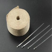 Beige Exhaust Muffler Pipe Header Heat Resistant Exhaust Wrap 10m x 2inch With Cable Ties