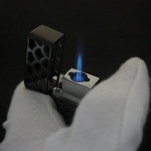 Image 5 - 듀얼 화재 제트 라이터 토치 터보 라이터 중공 무료 화재 windproof 금속 시가 파이프 가스 라이터 1300 c 부탄 가제트 남자에 대한