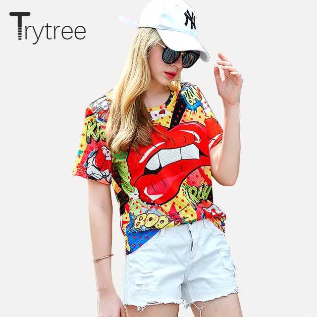 f4f93b4e16b1 Trytree Summer Casual Printed Fun Red Mouth Women T Shirt Female O Neck  Mesh Top High
