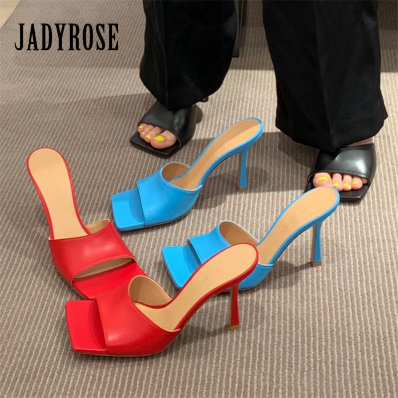 Jady Rose Summer Slippers Square Toe Women Sandals High Heel Slipper Sexy Dress Shoes Woman Ladies Mules Red Black Blue Slides