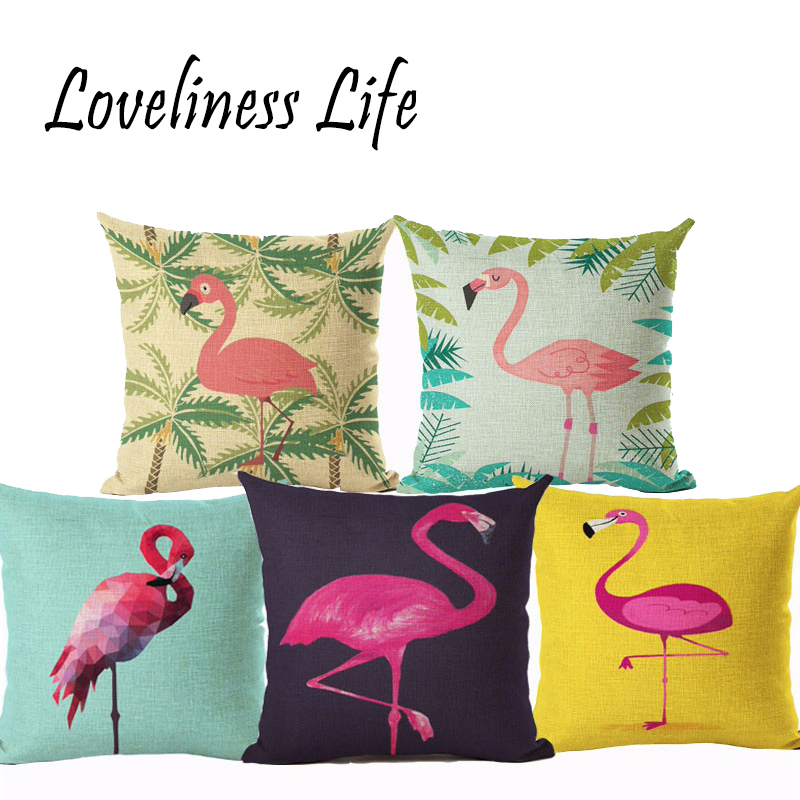 Flamingo Customized Cushion Covers Bird Custom Pillows Cover 20Styles Fresh Baby Sofa Decoration Christmas Gift Capa Cojines