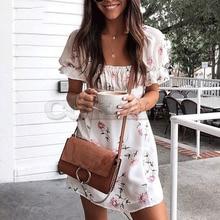 Cuerly 2019 summer floral print dress women boho beach mini female streetwear day L5