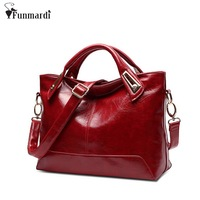Women Oil Wax Leather Designer Handbags High Quality Shoulder Bags Ladies Handbags Fashion Brand PU Leather