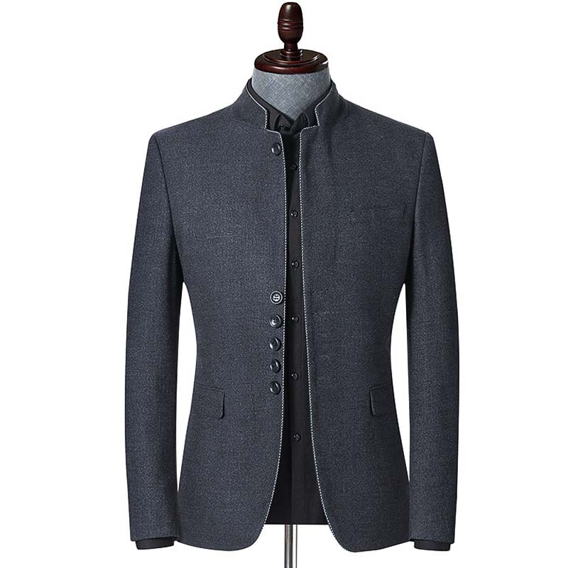 YUSHU Spring And Autumn New Brand Blazer Men Chinese Style Business Casual Stand Collar Blazer Jacket Gray Slim Fit Suit Jackets