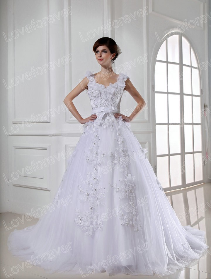 White Lace and Tulle Cap Sleeve Beautiful Style Real Style Ball ...