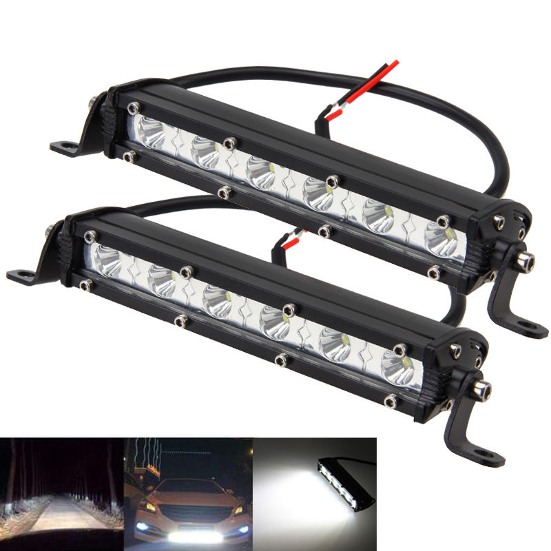Pair 7Inch 18w Spot Slim Led Light Bar Single Row Offroad Lamp SUV Driving
