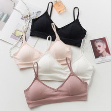 New sexy camis Bra Women's Sexy Beauty Back Bras Girls Sweet Cotton Without Rims Bras Breast Pad Removable Underwear for women