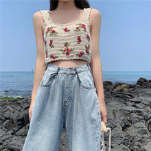 Alien Kitty Korean Style Cropped Top 2019 Summer Blouses Women Crochet Floral Embroidery Sleeveless Sexy Knit Tops Camisas Mujer