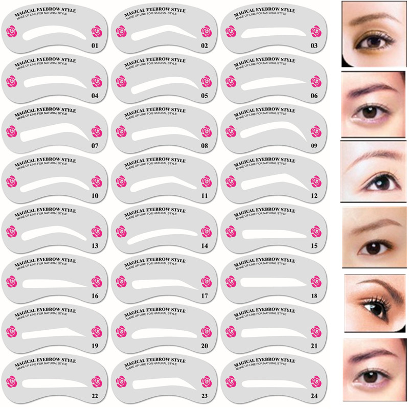 24 Pcs Reusable Eyebrow Stencil Set Eye Brow DIY Drawing Guide Styling Shaping Grooming Template Card Easy Makeup Beauty Kit