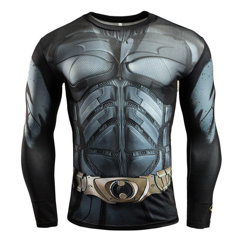 GUMPURUN Hot Fitness 3D Superhero Tshirt High-resilience Tight-fitting Avengers Batman Men's Bodybuilding Long-sleeved T Shirt