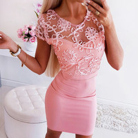 summer dress 2020 Fashion bodycon dresses woman party night Casual Solid Short Sleeve Strapless Lace Splicing Mini Dress vestido