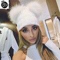 2016 nova inverno quente malha tampão do inverno chapéu gorros para mulheres cap com duplo pom pom skullies marca de pele real nova