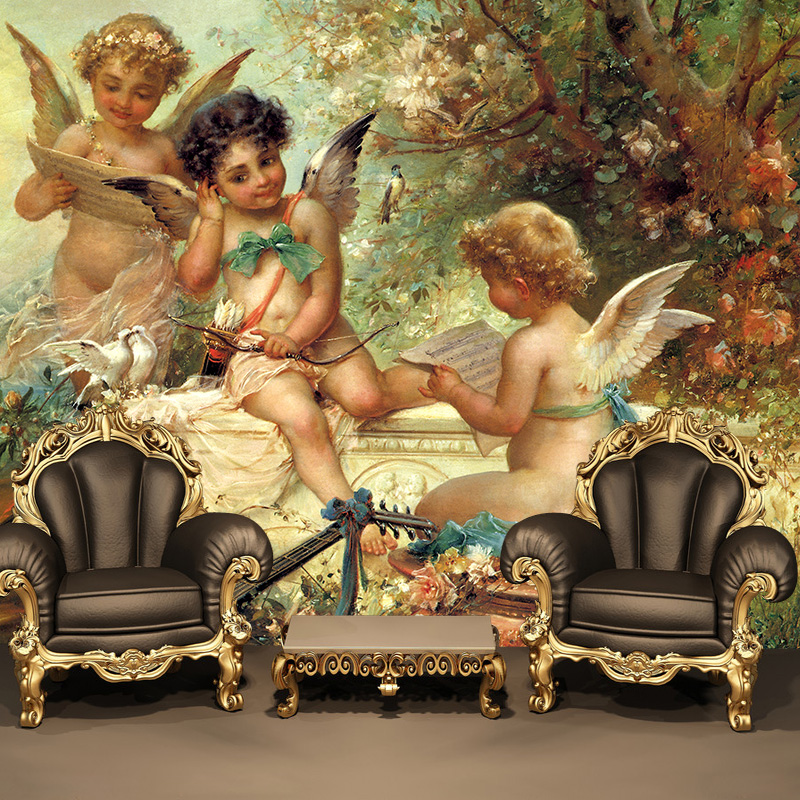 customized large mural 3d wallpaper dining photo wall paper bedroom TV sofa ceiling fresco European Greek mythology baby angell custom european style wallpapers little angel fresco wallpaper for walls 3d hotel greek mythology mural western photo wallpapers