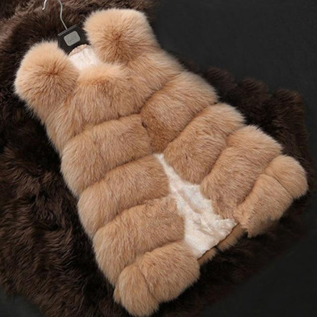 MCCKLE High Quality Fur Vest Coat Luxury Faux Fox Warm Women Coats Vest Winter Fashion Fur Women's Coat Jacket Vest 4XL Fur Coat