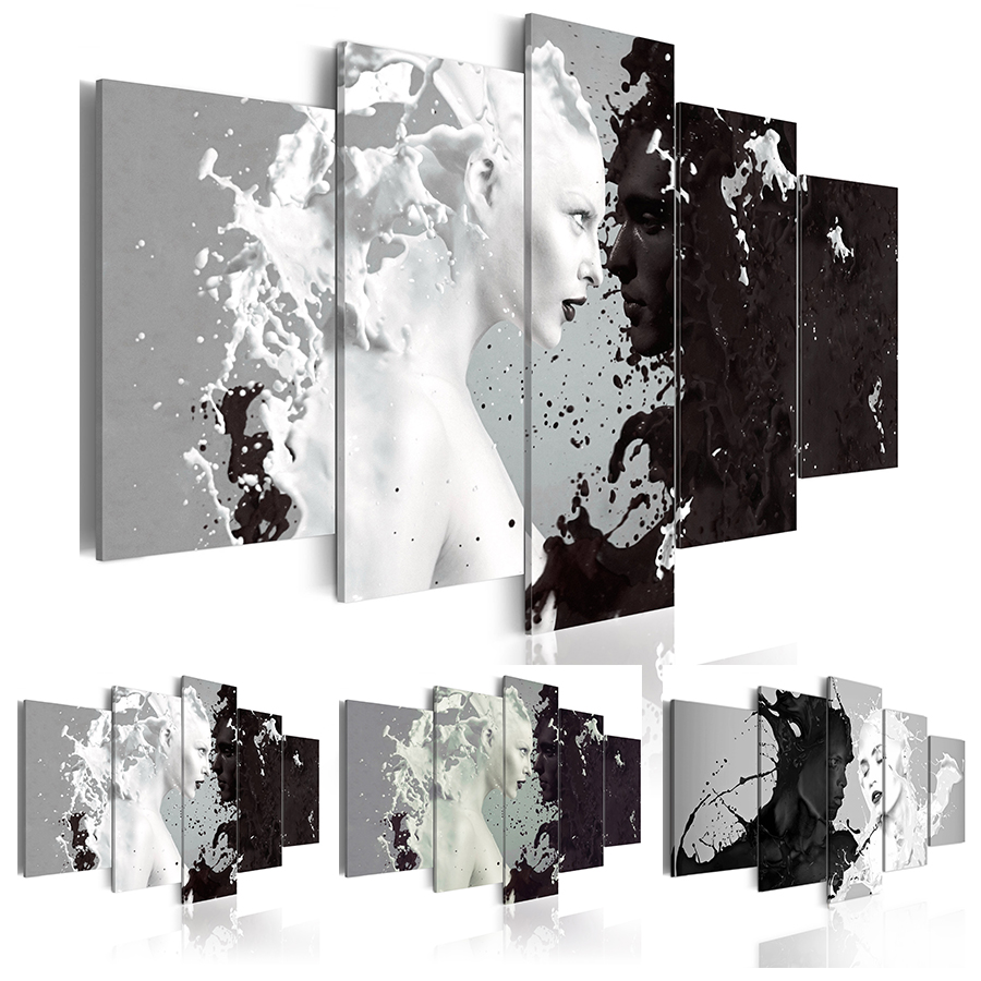 2019 Canvas Print Modern Fashion Wall Art the Black and White Abstract Ink Character Love for Home Decoration No Frame Size 3 in Painting Calligraphy from Home Garden