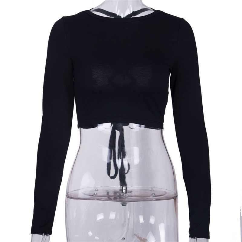 Tumblr настоящий новый полный полиэстер хлопок o-образным вырезом Женская Бесплатная доставка 2019 полые обруч рубашка с бретельками Сексуальная футболка