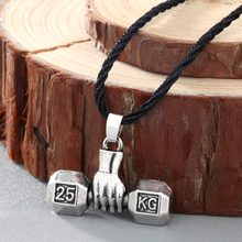 CHENGXUN Fashion Men Necklace Chain Sport Fitness Weight Lifting Luck Dumbbell Pendant Necklace for Men Jewelry(China)