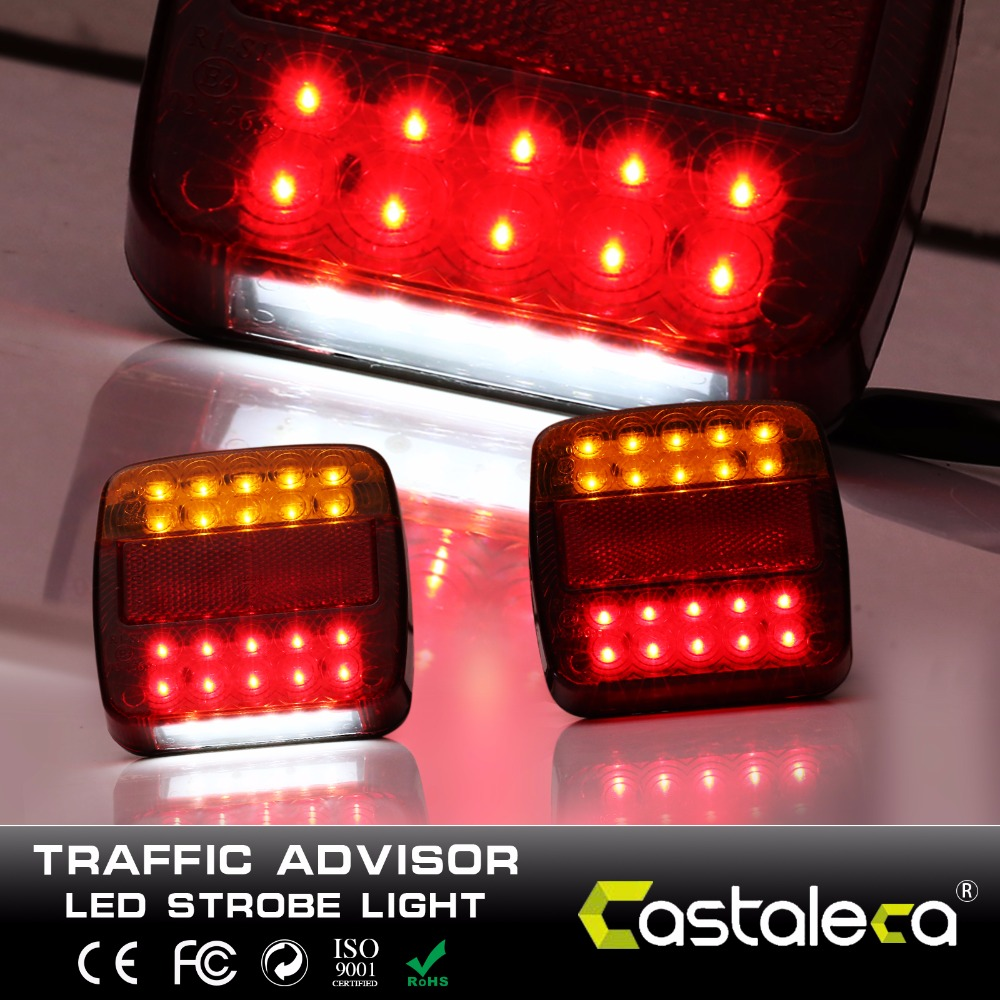 castaleca 12V 20 Leds Car Truck Warning Rear Tail Light Warning Lights Rear Lamps Tail Lights Rear Parts for Trailer Truck Boat бра arte lamp blake a4711ap 1br