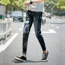 Paris Style 2018 Men Quality Slim Jeans Print Denim Man PantS Painted Dot Male Casual Fashion Street Club Personal Fit Jean цена в Москве и Питере