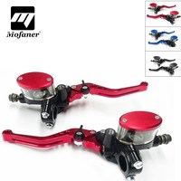 1Pair Universal 7/8 Motorcycle Master Cylinder Reservoir Hydraulic Brake Clutch Lever Double Pot