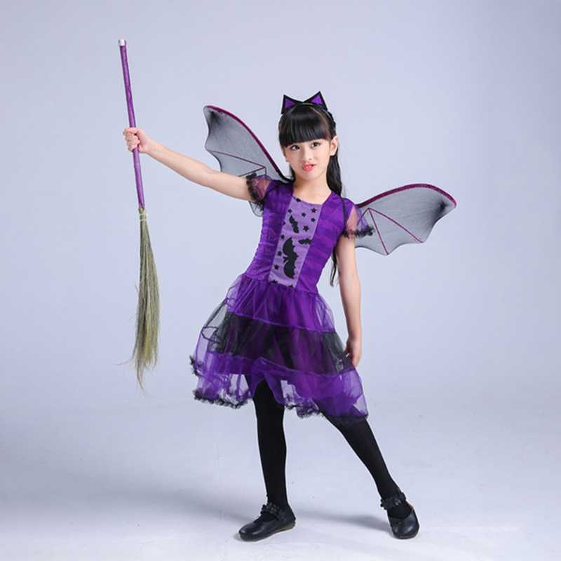 Crianças Halloween Bruxa Constume Cosplay Roupas Set (Chapéu + Vestido) bat Vestido Little Devil Night Party Fancy Dress Carnaval 2018