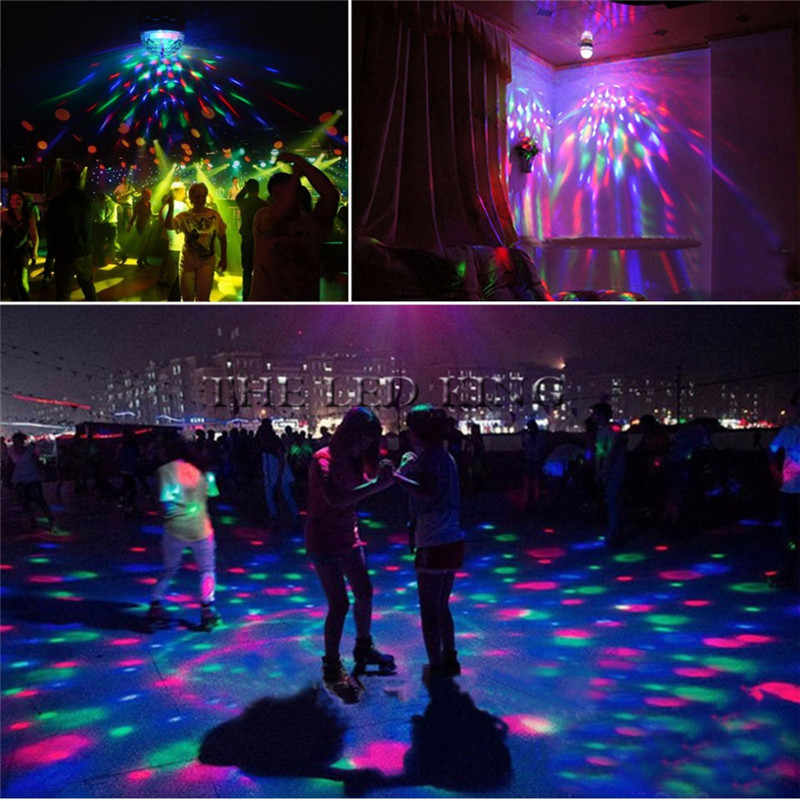 1X 10X E27 3W AC90-260V צבעוני אוטומטי מסתובב RGB LED הנורה שלב אור דיסקו DJ מסיבת חג מנורת הנורה עבור בר KTV תאורה