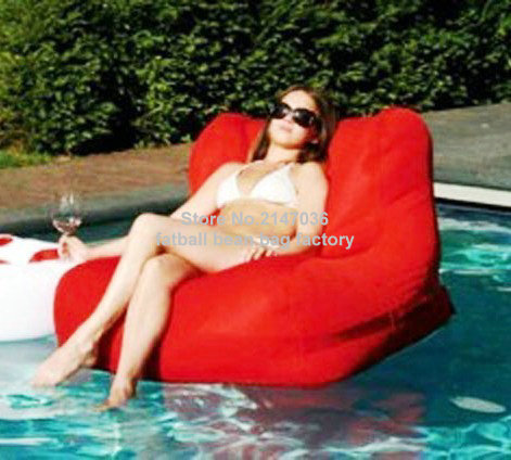 Red outdoor waterproof bean bag chair, external beanbag seat furniture in your poolRed outdoor waterproof bean bag chair, external beanbag seat furniture in your pool