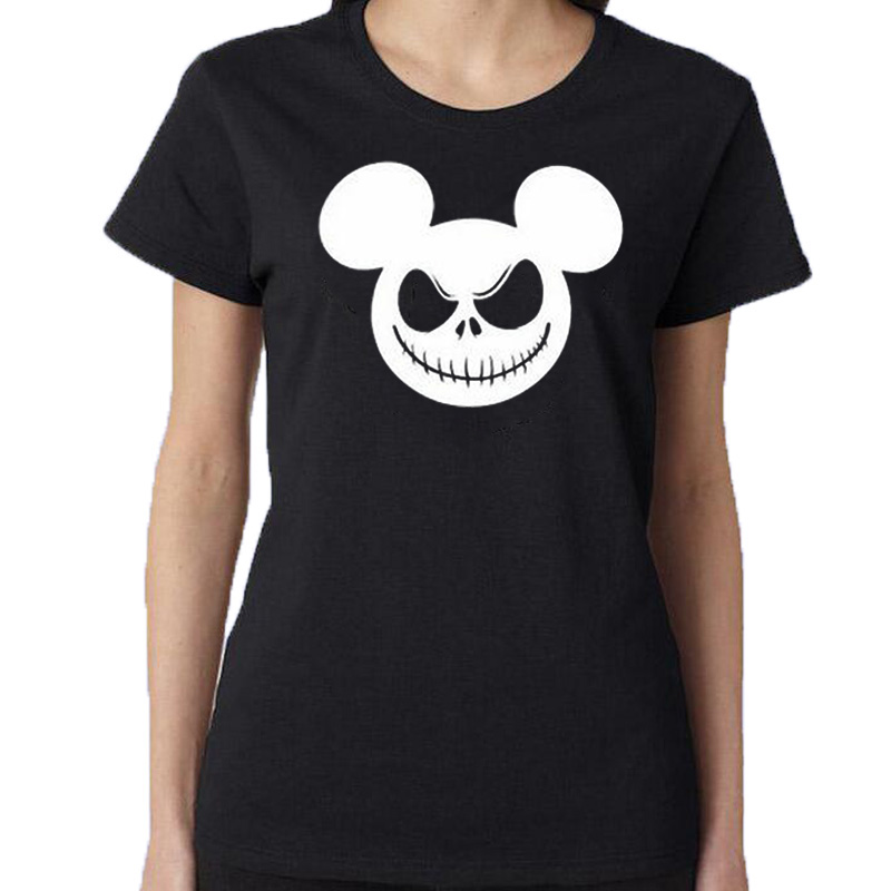 Nightmare Christmas Jack Skellington T Shirt Cartoon Funny Halloween T shirt Women Harajuku Punk Hip Hop Casual Tee Shirt Femme