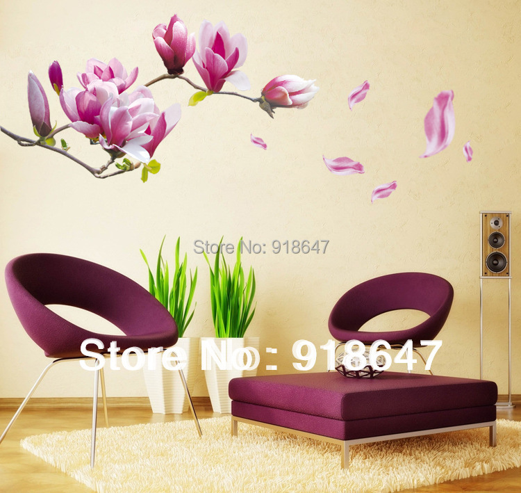 On sale diy big size removable flower home art decor wall for Home decorations on sale