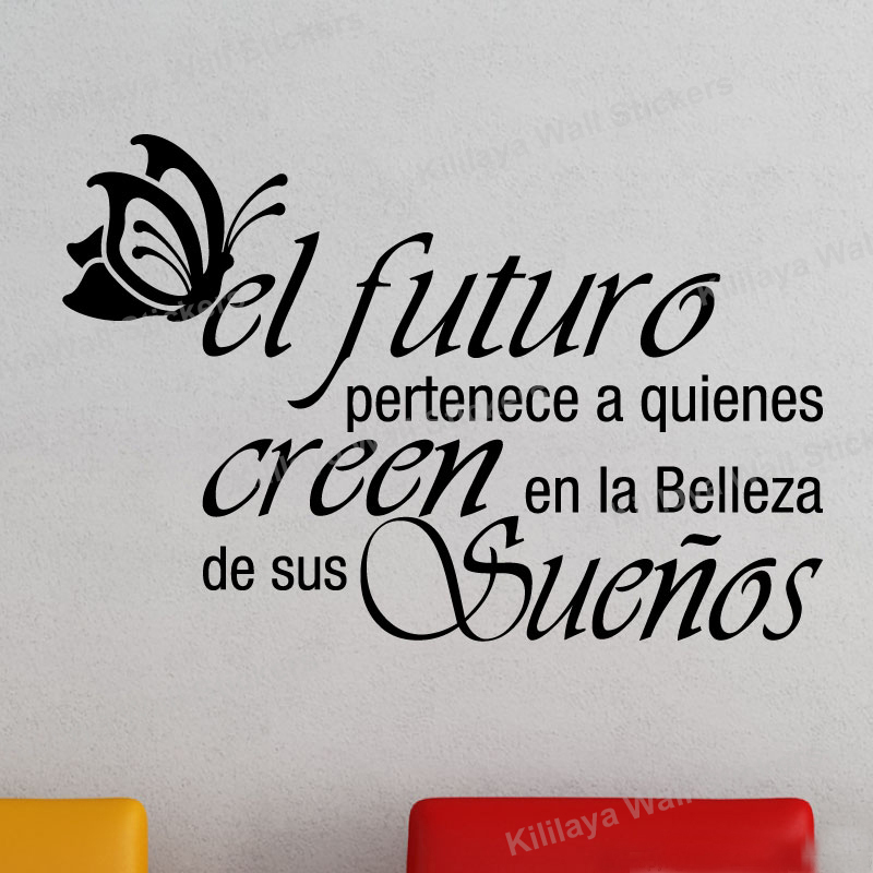 Hot Sale Spanish Vinyl Wall Stickers Butterfly Letterings Quote Wall