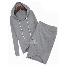 2017 Solid Hooded Long-sleeve Sweatshirt Skit 2pcs/set Women Sport Suit Tracksuits Cotton Hoodies Female Clothing Sets