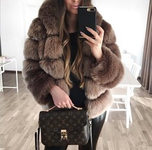Full loose 2018 Hot SALE Thicken the warm Faux fur Coat Christmas Holiday Sexy club Celebrity Sexy women Fox fur coats wholesale