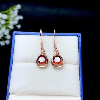 SHILOVEM 925 sterling silver Natural garnet stud earrings fine Jewelry women wedding wholesale new  7*7mm be0707894ags