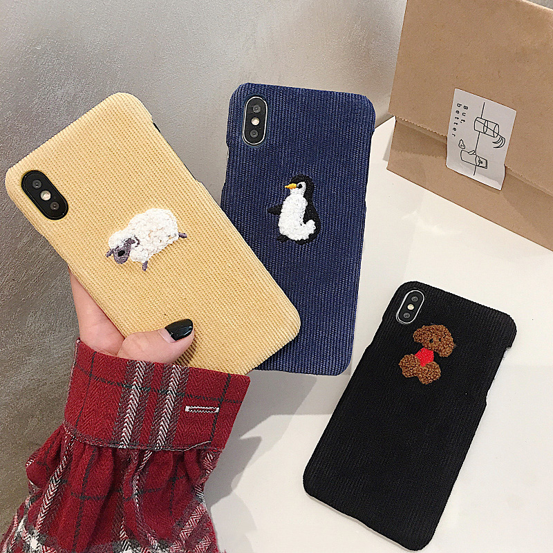 Warm Corduroy Phone Iphone 7 8 6S 6 Plus X Iphone XS Max XR Cover Cute Dog Sheep Embroidery Hard Cases