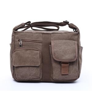 Image 2 - Erkek seyahat çantası tuval erkek postacı çantası tasarımcı marka çanta erkek çanta Vintage erkek evrak çantası iş omuzdan askili çanta Bolsas
