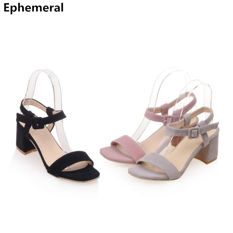 52e8fda8e9b1 Feminine Best Selling Buckle strap Plus size 35-43 Zipper Flock Nubuck  leather Open toe Square High heels Sandals Women Pumps
