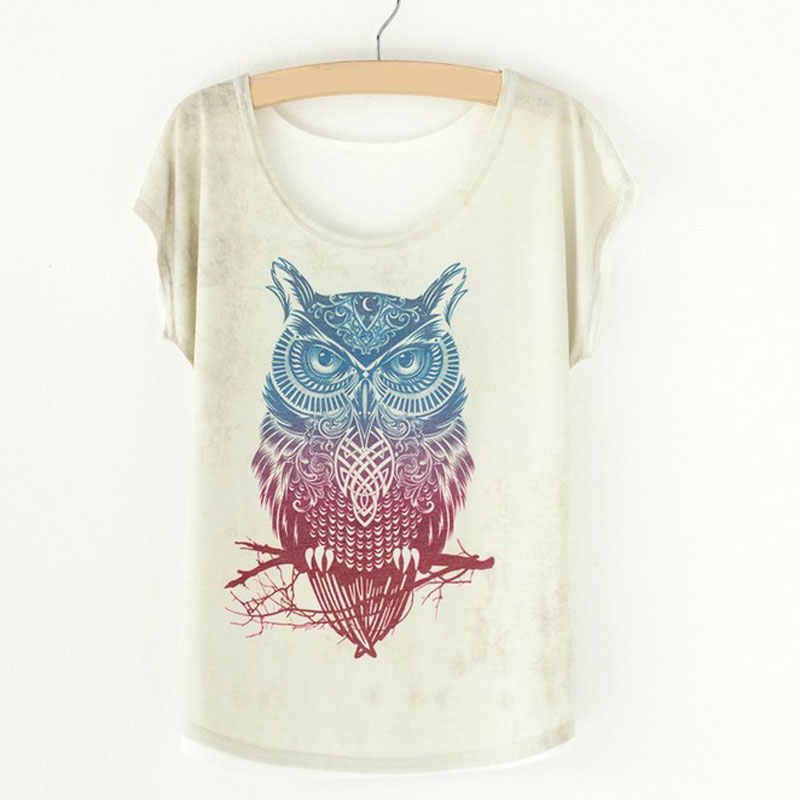 Summer Vintage Women's Shirt Blouses Animal Owl Print T-shirts for Woman Female Clothes Tops Batwing Sleeve Women's blouses 2018