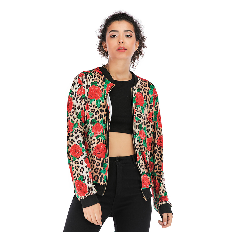 Print Bomber Jacket Women Flowers Zipper Up Retro Coat Spring Summer Long Sleeve Basic Plus Size Short Biker 25