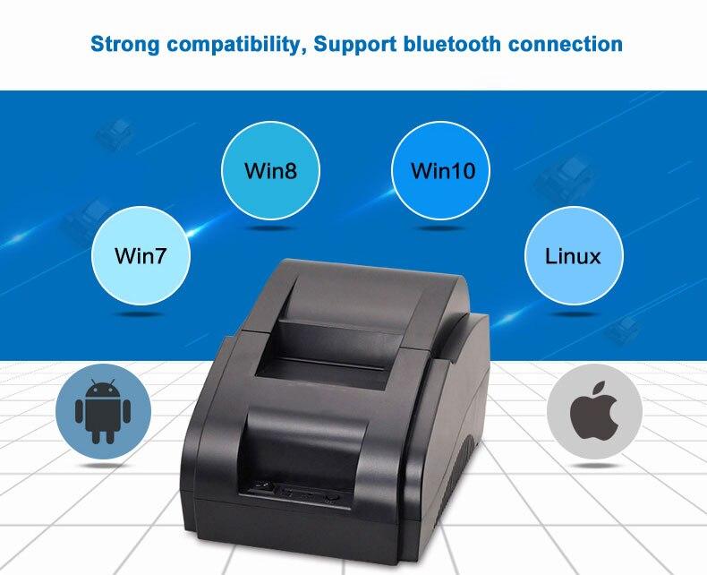 Schwarz und weiß Großhand Hohe qualität 58mm thermische drucker erhalt maschine druck geschwindigkeit 90 mm/s USB + Bluetooth interface