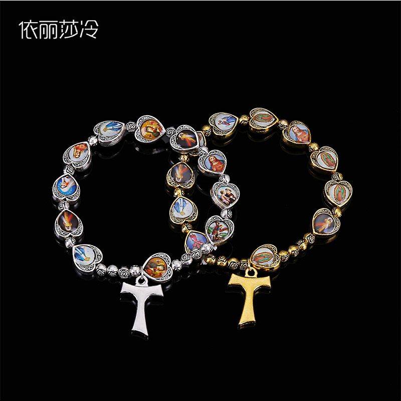 48 Pieces / Handmade Rosary Bracelet Stretch Bracelet Metal Round Small Rose Pearl Alloy Catholic Saints Image Prayer Bracelet