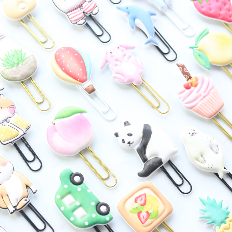 Domikee Cute Creative Metal Office School Memo Paper Clips Japanese Kawaii Bookmark Gift Stationery Supplies 2pieces