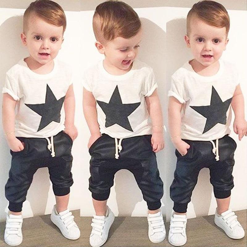 Boy set 2017 new baby boy summer clothes fashion print cotton stars short-sleeved T-shirt + leisure harem pants children's suits