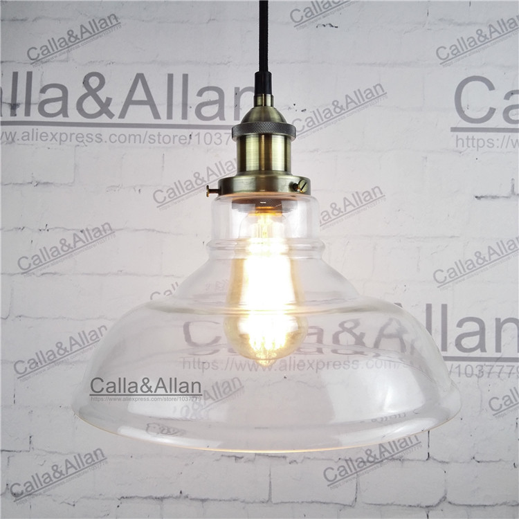 Loft Vintage Glass Industrial Pendant Lamp for Restaurant Dining Room Glass shade antique brass socket light fixture