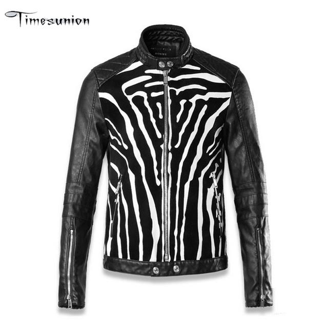 2016 Otoño Cebra de La Manera Hombres de la Chaqueta de Bombardero de Cuero Motercycle Jaqueta De Couro Hombre PU Mens Biker Punk Chaqueta de Cuero de Invierno