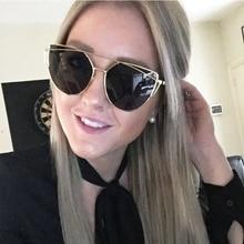 RSSELDN New Fashion Cat Eye Sunglasses Women Classic Brand Designer Twin-Beams Sun glasses UV400 Coating Mirror Oculos de sol