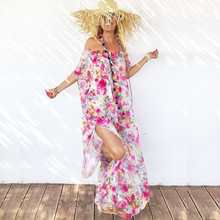 8981781ce1646 Kleid Frauen 2019 Sommer Neue Chiffon Print Rohr Top und Gruppe Böhmischen  Urlaub Casual Transparent Strand
