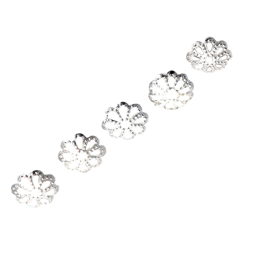 SAF-100pcs 6mm Fine Bright Silver Plated Daisy Spacer Beads for Bracelets DIY Jewelry Making